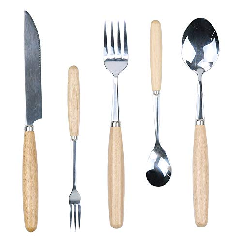 Wooden Handle Cutlery Set, 5 PCS Flatware Set Included Dinner Knife/Fork/Spoon & Dessert Fork/Spoon, Cutlery Set For One By HTB