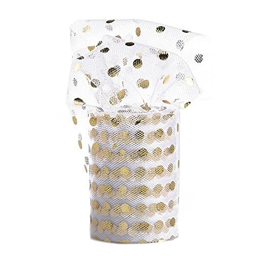 Euvoym Rollo de tela de tul de lunares pequeños de 10 yardas con lunares dorados y carrete de poliéster para falda de tutú, manualidades, lazo de regalo (punto pequeño)