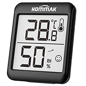 Hommak Indoor Room Thermometer Digital Hygrometer Humidity Meter, Temperature Monitor with High Accuracy, 2.3 Inch Large Display, Humidity Trendline, Comfort Level Indicator, Black