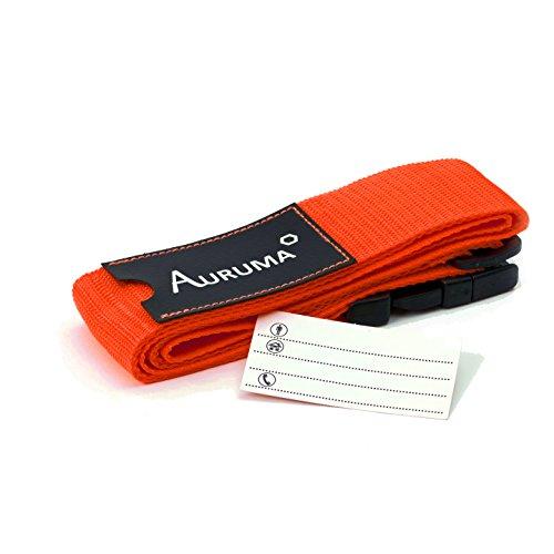 AURUMA Design Koffergurt, Neu: Kofferband incl. Kofferanhänger, gut wiedererkennbar, sehr robust (Orange)