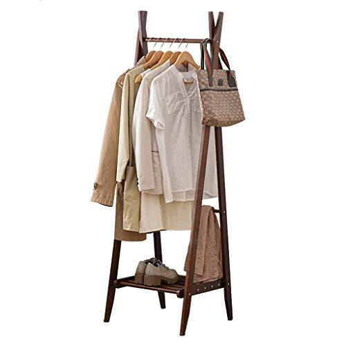 Zcyg Perchero Plegable de bambú para Ropa con Ganchos Laterales Inferiores Estante para Zapatos para Almacenamiento Extra con diseño de Marco A, bambú