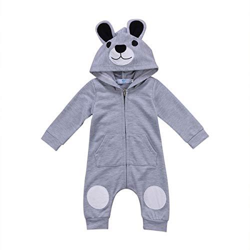 Carolilly - Pijama para bebé recién nacido con capucha de manga larga con cremallera gris 12-18 Meses