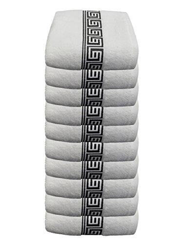 Julie Julsen Lot de 10 serviettes d'invité sans produits chimiques - 600 g/m² - Blanc et noir - 30 x 50 cm - 100 % coton - Certification Oeko-Tex Std 100 - Doux et absorbant - Lavable en machine