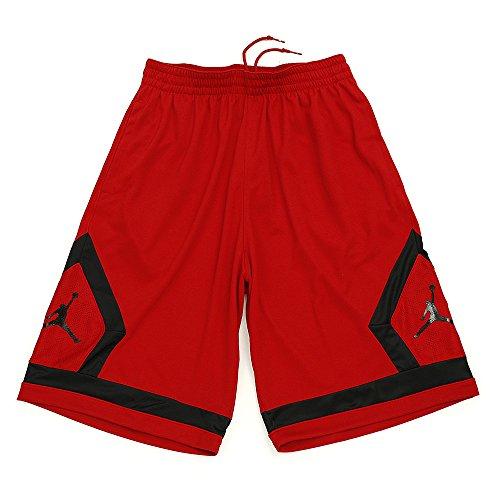 Nike Flight Diamond Short–Pantaloncini da Pallacanestro per Uomo, Uomo, Rosso/Nero