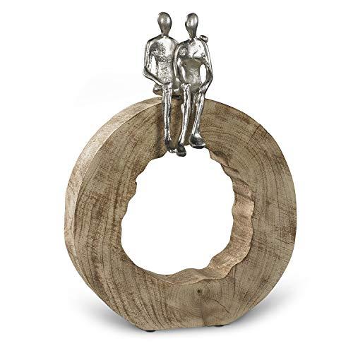 Moritz Skulptur Be Together 39 x 28 x 7 cm Mangoholz Alu Massive Mangoholz - Baumscheibe Handarbeit Silber
