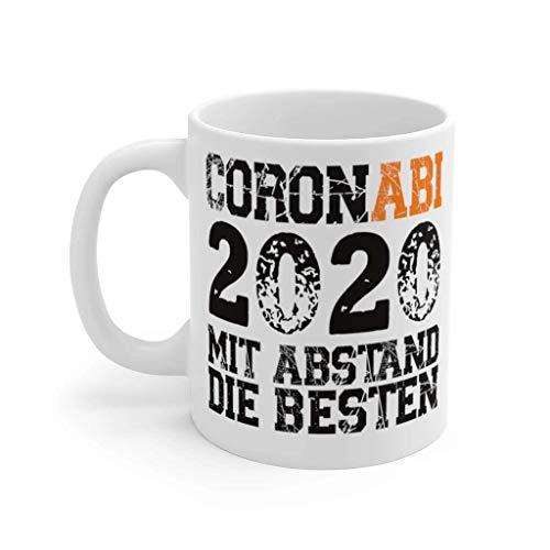 Abi 2020 Abitur 2020 Geschenk Abschluss Gymnasium Abifeier Mit Abstand Tasse mit Spruch, Porzellan, 330ml, Schwarz - Weiß 11oz