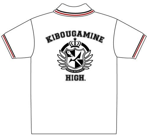 Super Dangan r?futer 2 Sayonara d?sespoir Gakuen espoir polo scolaire mois de pointe t-shirt Blanc x Rouge x Noir Taille: S (japon importation)