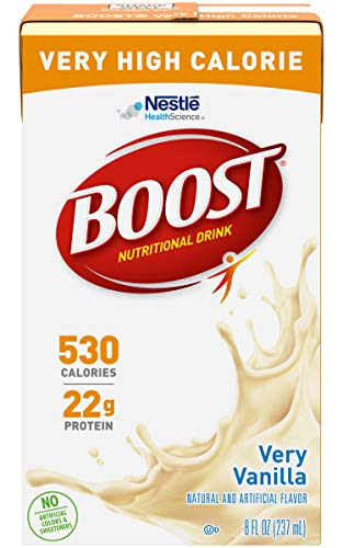 Boost Very High Calorie Nutritional Drink, Very Vanilla - No Artificial Colors or Sweeteners - 8 FL OZ (Pack of 12)
