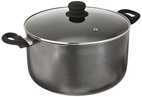 Imusa Charcoal USA IMU-91636 Stock Pot with Glass Lid 10-Quart, Dark Grey, 10Qt