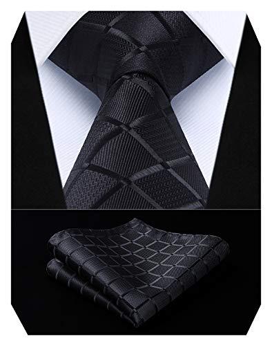 HISDERN Comprobar lazo de la boda Pa?uelo Hombres Corbata & Plaza de bolsillo Conjunto negro
