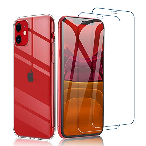 Habett Custodia per iPhone 11 + Pellicola Vetro Temperato, Trasparente Cover Sottile Silicone Gel TPU Case + 2 Pz Pellicola Protettiva in Vetro Temperato per iPhone 11-6.1 Pollici, Anti-Graffio