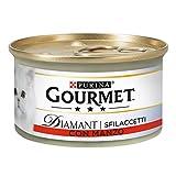 PURINA GOURMET DIAMANT Umido Gatto Sfilaccetti con Manzo Prelibato- 24 lattine da 85g cias...