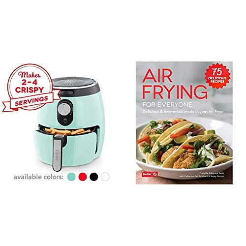 DASH DMAF355GBAQ02 Deluxe Electric Air Fryer + Oven Cooker with Temperature Control, 3qt, Aqua & DCB001AF Air Fryer Recipe Book for Healthier + Delicious Meals, Snacks & Desserts