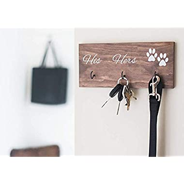 Wall Mounted His Hers and Paws Leash and Key Holder - Dog Lover Organization