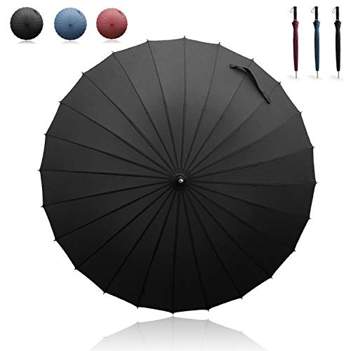 Becko Manual Open & Close Umbrella Long Umbrella with 24 Ribs, Durable and Strong Enough for the Wind and Rain, Easy to Carry on Your Back By Its Own Bag (Black)