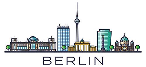 Pegatina de pared skyline Línea del horizonte de Berlín con coloridas ciudades y letras Alemania ciudades motivo lugares turísticos pared pegatina paisaje urbano pegatina horizonte XXL