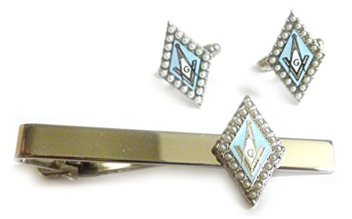 Silver Finished Freemason Tie Pin and Cufflinks Set