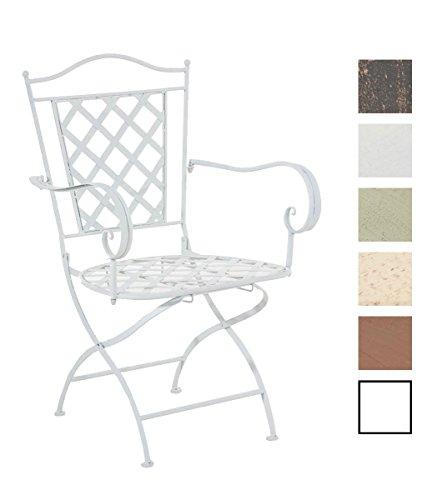 CLP Sedia Outdoor in Ferro Adara – Sedia Esterno con Braccioli - Sedia Stile Rustico Nostalgico per Balcone, Terrazza o Giardino – Sedia Giardino Facile da Pulire