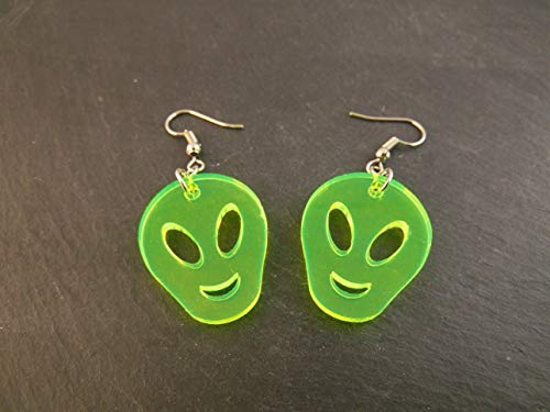 Ohrringe Ohrhänger Alien neon grün fluoreszierend Fasching Halloween Acryl Kunststoff