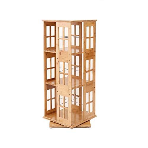 QX IAIZI - Estantería de bambú con tres capas giratorias para sala de estar, piso de oficina, estantería de almacenamiento de 95 x 37 x 37 cm