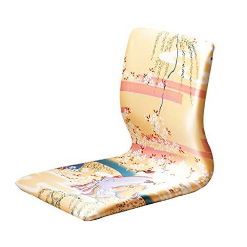 LRSFY Japanse en Koreaanse stijl kamerstoel, houten vloer stoel faul bank vloer gaming meditatie stoel met rugsteun beenloze stoel rood/blauw/geel 46 * 38 * 43 cm
