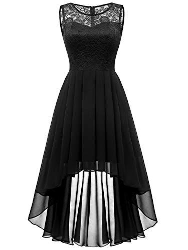 Aupuls Damen Elegant Hochzeit Vokuhila Brautjunfernkleid Ärmellos Cocktailkleid Vintage Kleid Schwarz M
