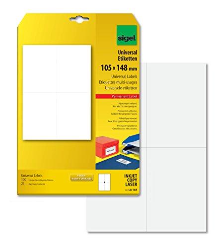 SIGEL LA164 Universal-Etiketten weiß, 105 x 148 mm (A6), 100 Etiketten = 25 Blatt