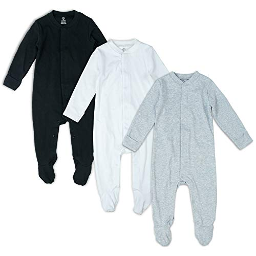 OPAWO Solid Color Unisex Baby Footed Onsies Rompers with Mitten Cuffs 3-Pack 0-18 Months (Black/White/Gray, 0-3 Months)