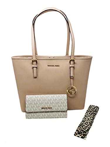 MICHAEL KORS Jet Set Medium Carryall Leather Tote Bundled with Trifold Wallet and Satin Scarf
