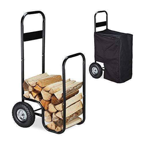 Relaxdays Chariot à Bois, métal, bâche de Protection, 2 Roues, 60 kg, Transport & Stockage, Panier à bûches, Noir