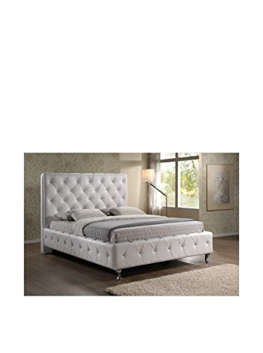 Baxton Studio Stella Crystal Tufted Modern Bed with Upholstered Headboard, King, White