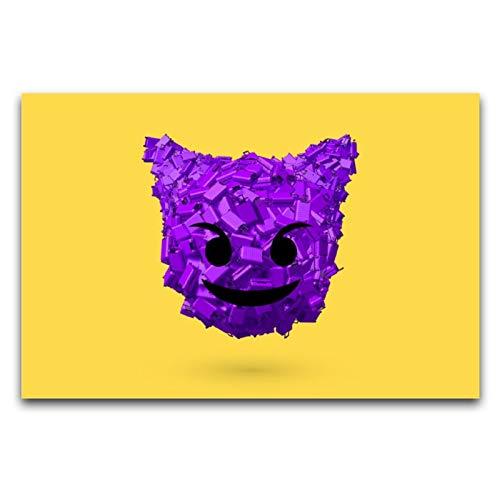 WPQL Emoji, Demonio DIY póster decoración Sala de estarHotelgráfico diseño de la lona de arte de la pared