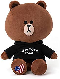 LINE FRIENDS Plush Figure - New York Brown Character Cute Soft Sitting Stuffed Doll, 11 Inches