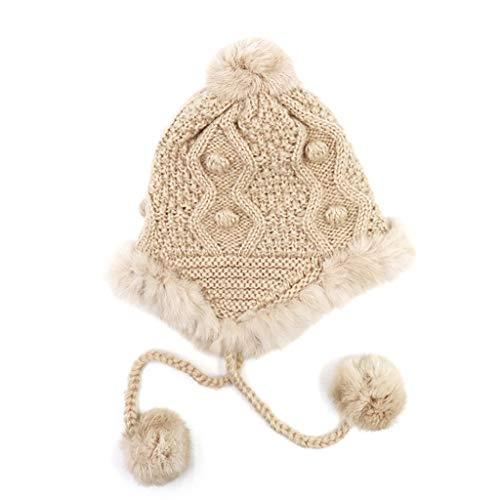 ZJH Gorros de Punto Goreie Sombrero Mujeres Invierno Acanalado Tejido Engrosamiento Alineado Pom Pom Sombreros cálido Punto Tapa de cráneo Gorro de Invierno (Color : Khaki)