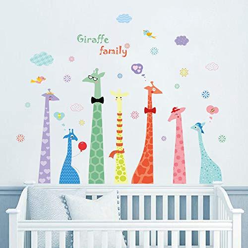 ufengke Pegatinas de Pared Familia de Jirafas Vistoso Vinilos Adhesivos Pared Soñar En Nubes Decorativos para Dormitorio Habitación Infantiles