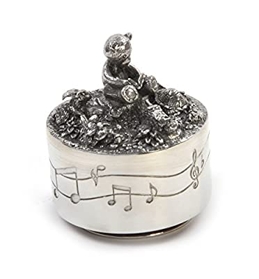 Royal Selangor Hand-Finished Teddy Bears' Picnic Friends Music Carousel in Wooden Gift Box D7CM x H8CM (item)