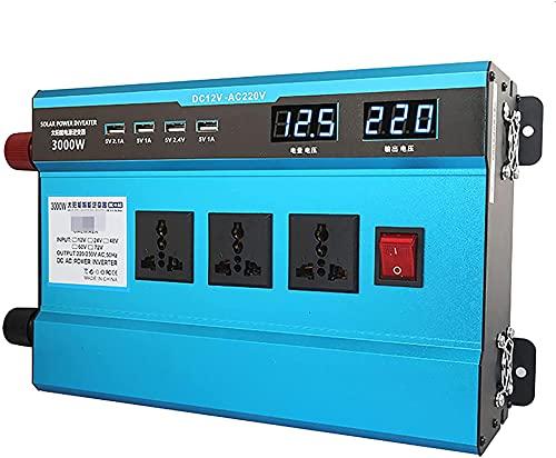 KONGLZG Transformador de convertidor de Voltaje de automóvil CC 12V a AC 220V de CA 220V con enchufes de 3 Clavijas y Puertos 4-USB