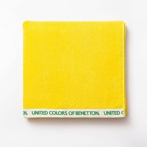 UNITED COLORS OF BENETTON- Toalla de Playa 90 x 160 cm, Rizo de 100% Algodón, Compacta, Ligera, Suave y de Secado Rápido, Apta para Lavadora, Amarillo
