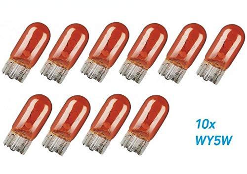 10x Stück – WY5W - W2.1x9.5d - T10-12V - 5W – AMBER/ORANG - KFZ Beleuchtung - LONGLIFE - Glühlampe Glassockellampe Glühbirne Soffitte Autolampen WERKSTATTWARE/chiavi