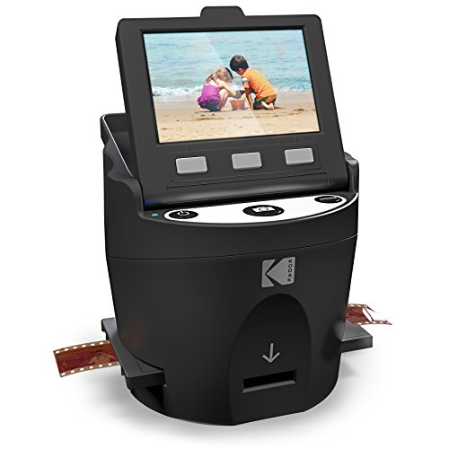"KODAK SCANZA Digital Film & Slide Scanner - Converts 35mm, 126, 110, Super 8 & 8mm Film Negatives & Slides to JPEG - Includes Large Tilt-Up 3.5"" LCD, Easy-Load Film Inserts, Adapters & More"