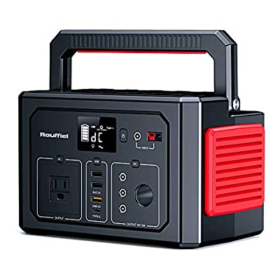 Rouffiel K53 288WH Portable Power Station, CPAP Backup Battery, 110V/350W Pure Sine Wave AC Outlet, 3 DC Ports, USB QC3.0, Solar Generator for Camping, Travel, Hunting, Emergency
