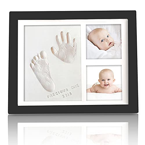 Baby Handprint Footprint Keepsake Kit - Baby Prints Photo Frame for Newborn - Baby Nursery Memory Art Kit Frames - Baby Shower Picture Frames for Baby Registry Boys,Girls (Onyx Black)