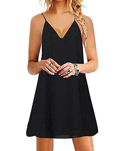 YOINS Damen Kleider Sommer Tshirtkleid für Damen Kleider Knielang Tunika Winterkleid V-Ausschnitt Elegant Brautkleid,Schwarz,M