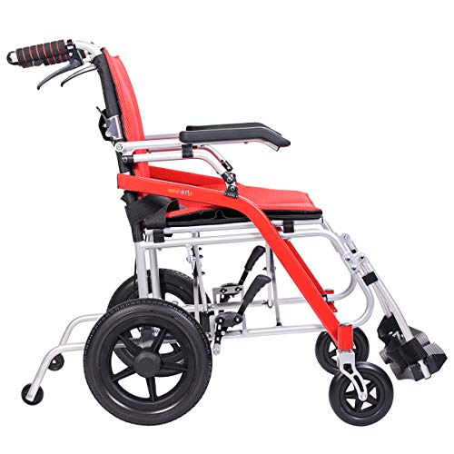 """Hi-Fortune Wheelchair 21 lbs Lightweight Transport Medical Wheelchair with Adjustable Armrests and Hand Brakes, Portable and Folding, 18"""" Seat, Red"""