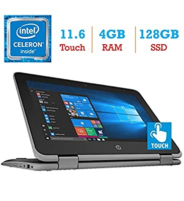 HP ProBook x360 11 EE G3 2-in-1 11.6-inch Touchscreen Display Laptop PC (Intel Quad Core Celeron N4100 Processor, 4GB RAM,128GB Solid State Drive, Bluetooth, HDMI, Webcam, WiFi, Windows 10 Pro)