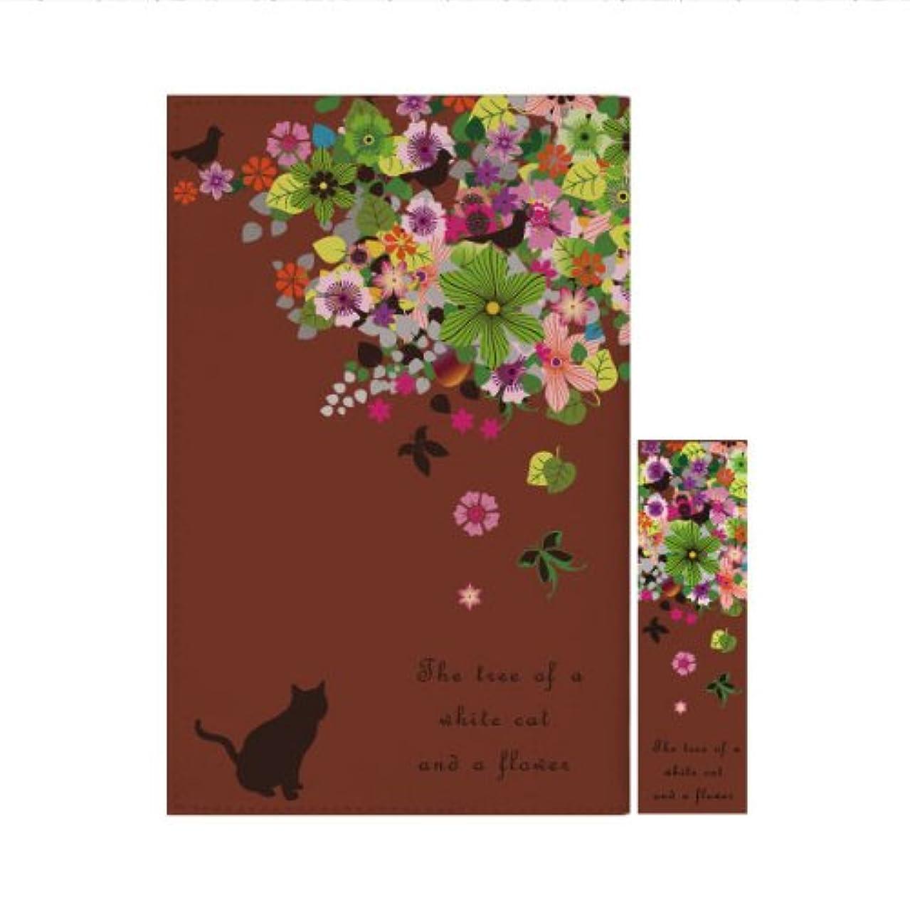ジョブリマーク専門用語ブックカバー コミック判 コミック 撥水機能 しおり付き 1878黒猫と花の木 ブラウン