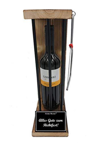 * Alles Gute zum Richtfest - Eiserne Reserve ® Black Edition Weißwein 0,75L incl. Säge zum zersägen der Stäbe - Die lustige Geschenkidee - Weingeschenk