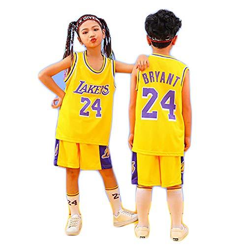 HGTRF Kinder Lakers Ko0be No.24 Basketballtrikot, atmungsaktives Netzoberteil und Hosenanzug-Yellow-S