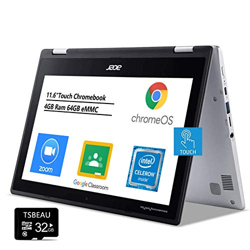 Acer Chromebook Spin 311 Laptop, 11.6' Touchscreen Display, Intel Celeron N4000 1.1GHz, 4GB Ram 64GB (Google Classroom or Zoom Compatible), Chrome OS, Bundled with TSBEAU 16GB Micro SD Card