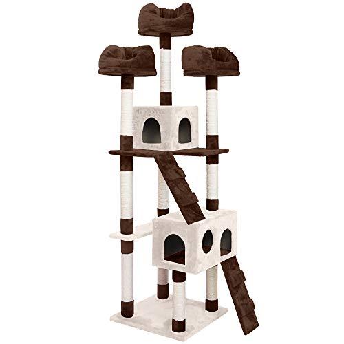 (OSJ)キャットタワー 猫タワー スタンダード式 爪とぎ 麻紐 据え置き ソファーベッド3つ 隠れ家2つ付き 18...